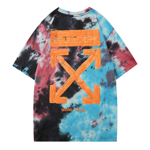 @W 2Color Pad Dyeing Color Arrow Printing TEE (895)