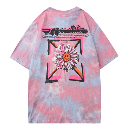@W 2Color Pad Dyeing Chrysanthemum Printing TEE (896)