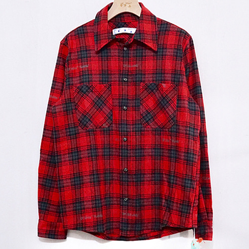 @W 2Color Inkjet Graffiti Arrow Plaid Shirt (1234)