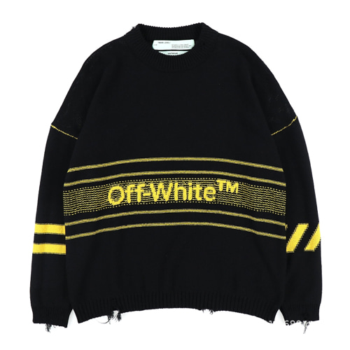 @W 2Color Letter Logo Destruction Cuff Striped Sweater (1231)