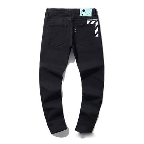 @W Letters Speed Belt Denim Stretch Pants (1216)