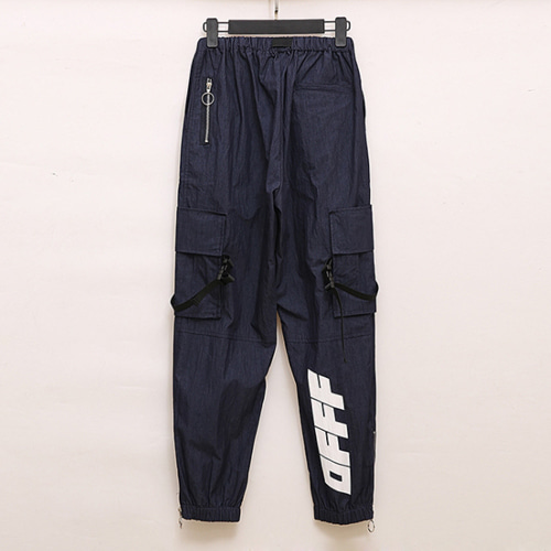 @W 2Color Letter Printing All-match Pants (1215)