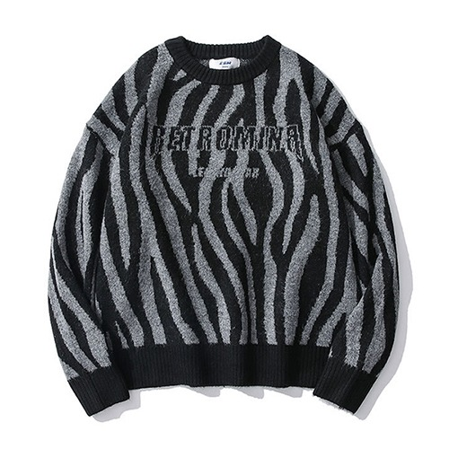 Zebra-patterned jacquard 2color sweater (1192)