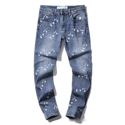 @W Letters Washed Stretch Denim Pants (1218)