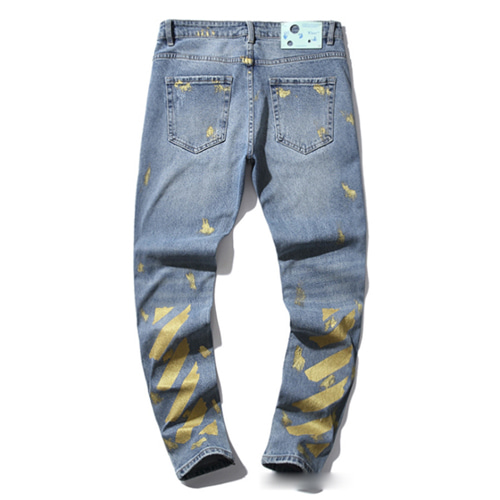 @W Gold Cordon Splashed Ink Stretch Denim Pants (1217)
