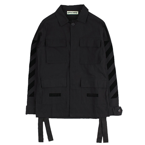 @W Mmulti-pocket Black Paint Jacket (1241)