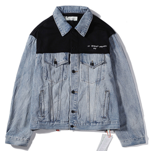 @W Stitching Contrast Washed Denim Jacket (1286)
