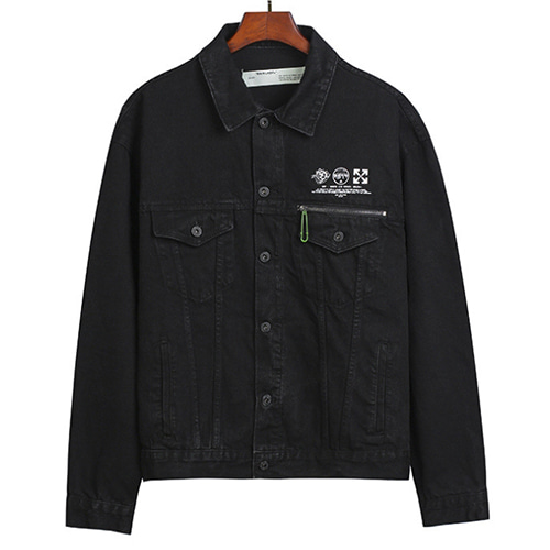 @W Letter Washed Old Denim Jacket (1285)